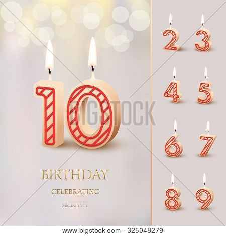 Burning Birthday Candle In The Form Of Number 10 Figure And Happy Birthday Celebrating Text With Num