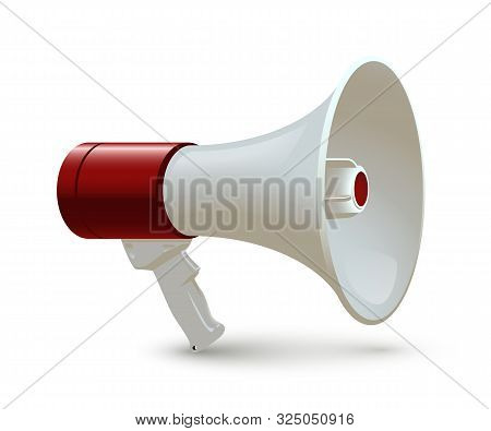 Red And White Megaphone Isolated On White Background. Vector Realistic 3d Bullhorn