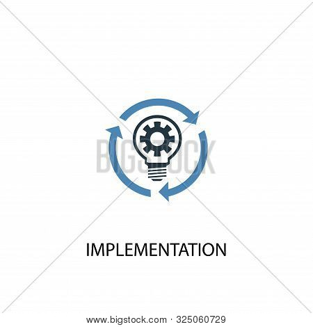 Implementation Concept 2 Colored Icon. Simple Blue Element Illustration. Implementation Concept Symb