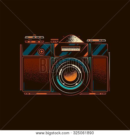 Original Vector Illustration.old Slr Film Camera In Retro Style.