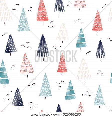 Christmas Watercolor Background. Seamless Pattern Hand Drawn Trees. Decorative Holiday Background. W