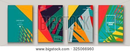 Modern Cover Collection Design. Abstract Retro 90S Style Texture Of Colorful Neon Lines. Striped Tre