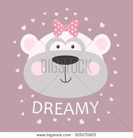 Cute Cheeky Monkey With Bow And Lettering Dreamy Isolated On Hearts Background, Tshirt Design For An