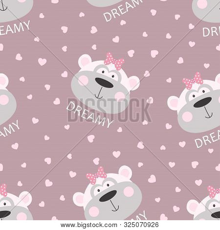 Seamless Pattern Of Cute Cheeky Monkey With Bow And Lettering Dreamy Isolated On Hearts Background,