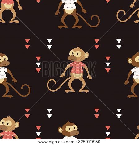 Seamless Pattern Of Cheeky Monkey In Striped Tshirt With Geometric, Shapes Isolated On Black Backgro