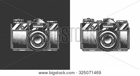 Original Monochrome Vector Illustration. Old Slr Film Camera In Retro Style.
