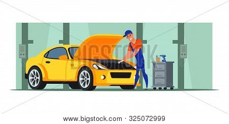 Car Repair Shop Flat Illustration. Auto Mechanic Vector Character Repairing Engine. Cartoon Handyman
