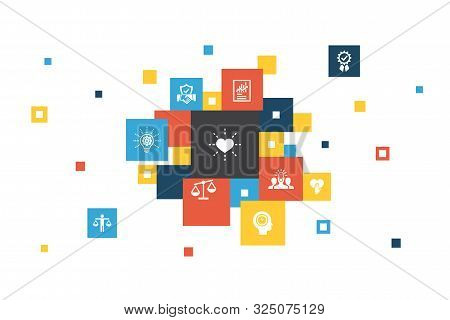 Core Values Infographic 10 Steps Pixel Design.trust, Honesty, Ethics, Integrity Icons