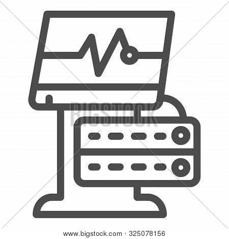 Ekg Device Line Icon. Medical Monitor Vector Illustration Isolated On White. Electrocardiogram Machi