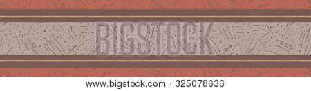 Terracotta, Saffron And Pastel Mauve Stripes With Etched Texture. Seamless Vector Border Pattern On