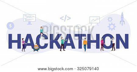 Hackathon Technology Programming Startup Concept With Big Word Or Text And Team People With Modern F