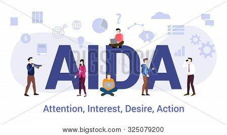 Aida Attention Interest Desire Action Concept With Big Word Or Text And Team People With Modern Flat