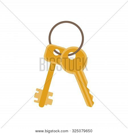 Bunch Of Keys From New House Or Car In Flat Style. Icon For Web, Print