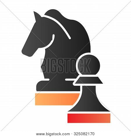 Chess Knight Flat Icon. Chess Horse Color Icons In Trendy Flat Style. Equine Gradient Style Design,