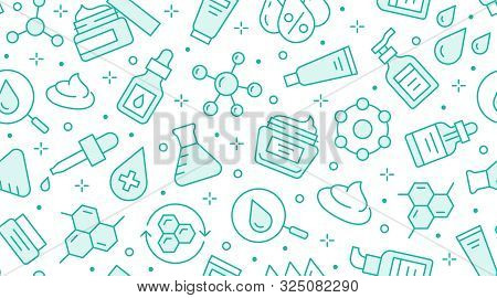 Skin Care Seamless Pattern With Line Icons. Hyaluronic Acid Drop, Serum, Anti Ageing Compound Retino