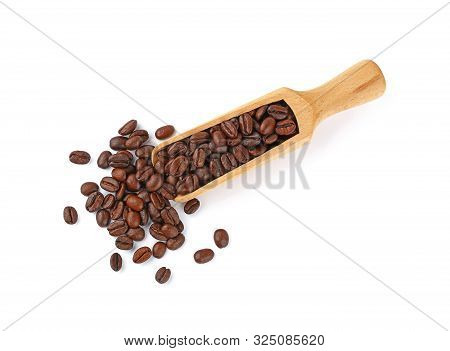 Close Up Wooden Scoop Full Of Roasted Arabica Coffee Beans Isolated On White Background, Elevated To