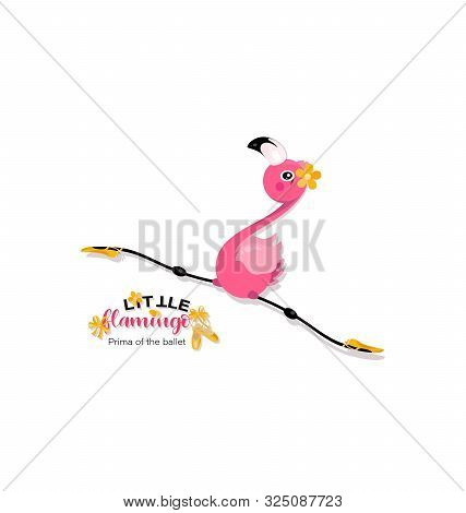 Flight Of A Little Flamingo In Twine. Prima Of The Ballet. Yellow Pointe Shoes For Pink Flamingos. F