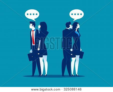 Business Team Gossip Something To Another. Concept Business Partnership Vector Illustration, Communi