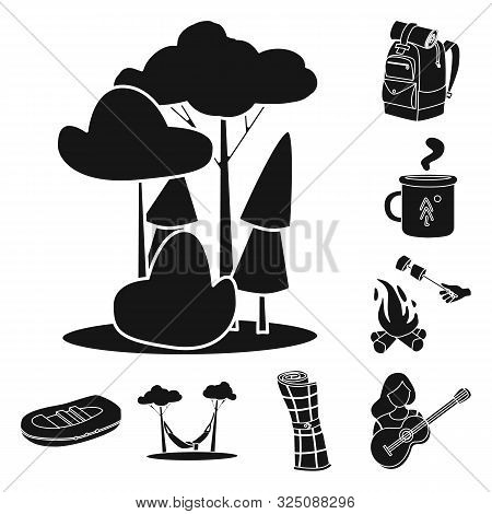 Vector Design Of Barbeque And Leisure Icon. Collection Of Barbeque And Nature Stock Symbol For Web.