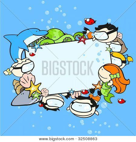 Background with cute underwater world explorers (raster version)