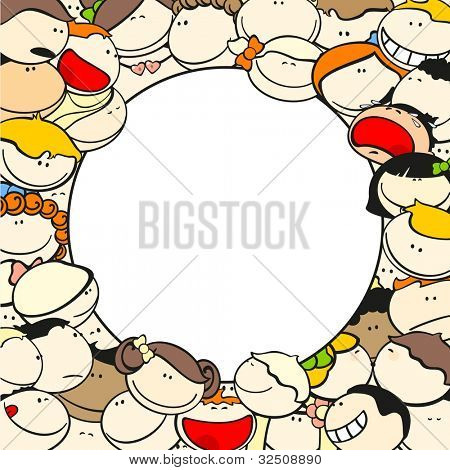 Background with funny kids, round (raster version)
