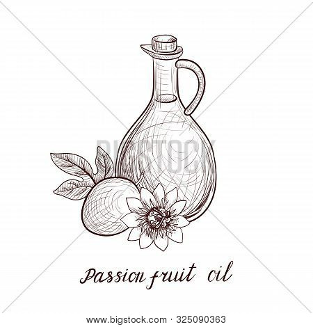Vector Drawing Passion Fruit Oil, Bottle Of Vegetable Oil And Passiflora, Hand Drawn Illustration