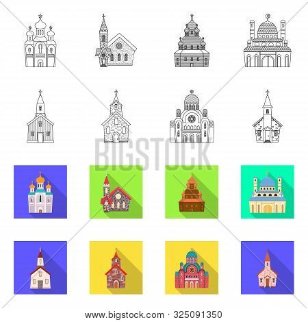 Vector Design Of Cult And Temple Icon. Collection Of Cult And Parish Vector Icon For Stock.
