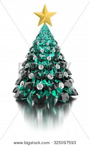 Christmas Tree Made Of Emeralds And Diamonds With A Gold Star On A White Reflective Background. 3d I
