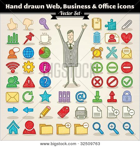 Hand Drawn Web, Business And Office Icons