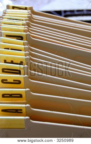 Office filing tray index. Alphabetical documents organizer. poster