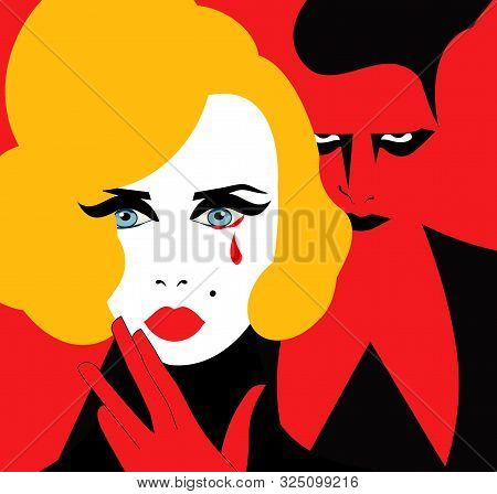 Illustration Of A Blonde Woman Crying With An Evil Man Behind Her Who Provoked Her Suffering