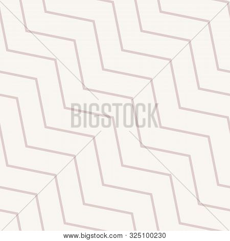 Subtle Vector Seamless Pattern With Diagonal Stripes, Thin Lines, Chevron, Zigzag. Simple Minimal So