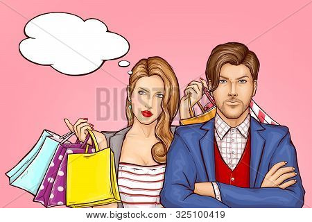 Couple Returning From Shopping Concept. Satisfied Young Woman With Shopping Bags, Paper Packets In H