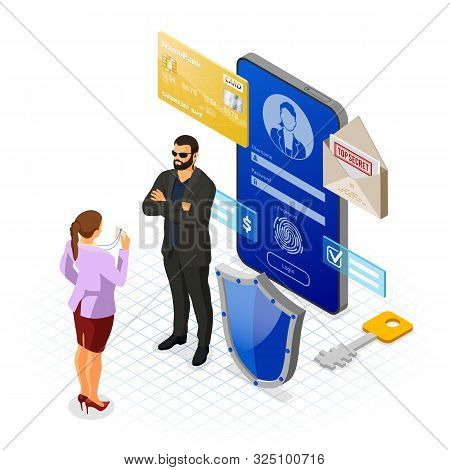 Personal Data Cyber Internet And Security Protection Banner Phone With Confidential Data Protection