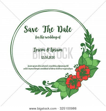 Vintage Card Save The Date With Decor Pattern Of Red Flower Frame. Vector