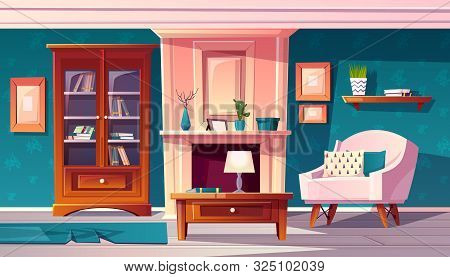 Cartoon Luxury Cabinet With Fireplace And Molding On Wall. Rich Room With Bookshelf And Secretaire.