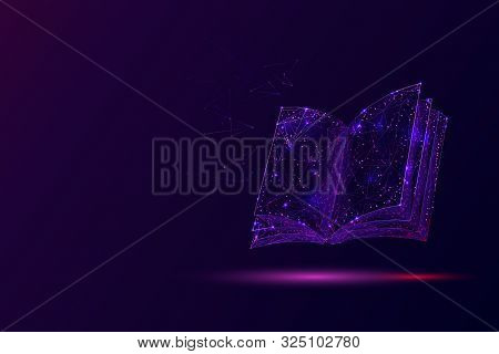 Open Book Low Poly Vector Illustration. 3d Encyclopedia. Polygonal Textbook, Dictionary. Education,