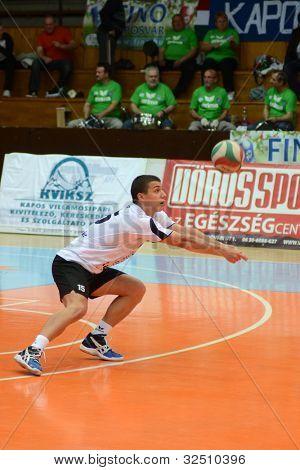 KAPOSVAR, HUNGARY - APRIL 21: Mark Deak  in action at a Hungarian National Championship volleyball game Kaposvar (blue) vs. Kecskemet (black), April 21, 2012 in Kaposvar, Hungary.