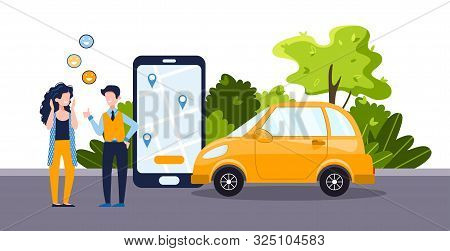 Car Sharing Service Concept With Positive Woman And Man, Telephone With App And Yellow Car. Green En