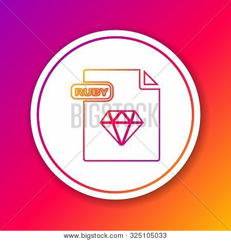 Color Line Ruby File Document. Download Ruby Button Icon Isolated On Color Background. Ruby File Sym