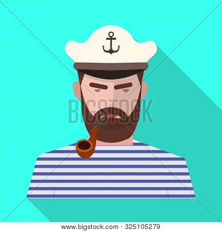 Vector Design Of Captain And Seaman Symbol. Collection Of Captain And Face Stock Vector Illustration