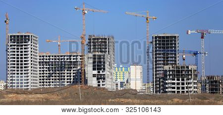 Kiev, Ukraine - April 2, 2017: Сonstruction Of A New Multi-story Residential Complex. Cranes And Bui
