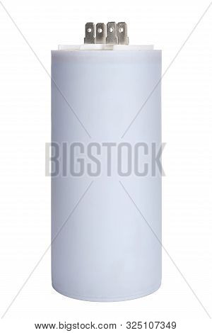 White Electrolytic Capacitor Isolated On White Background