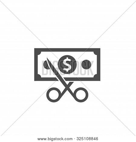 Scissors Cutting Money Bill Icon, Dollar Banknote With Scissors