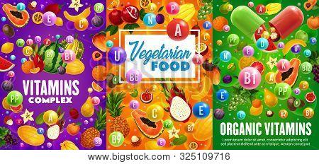 Fruit Vitamins And Minerals, Vegetarian Multivitamin Complex Vector Design. Vitamin Capsule With Tro