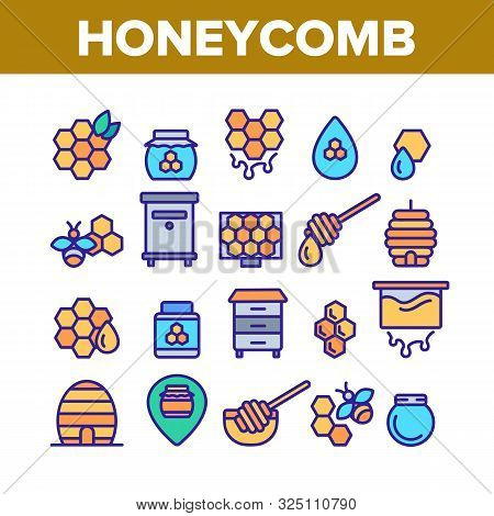 Honeycomb Collection Elements Icons Set Vector Thin Line. Bee Swarm, Beekeeper And Sweets, Nectar An