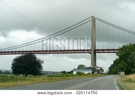 View Of The Tancarville Suspension Bridge In Normandy In France
