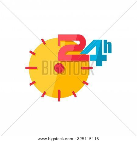 24h Service Icon Flat Style Isolated On White Background, 24 Hours Time, 24 Hours Customer Service,