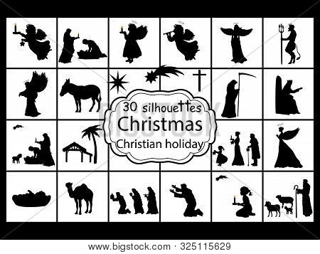 Set Silhouettes Christmas Nativity. Christian Holiday. Vector Illustration