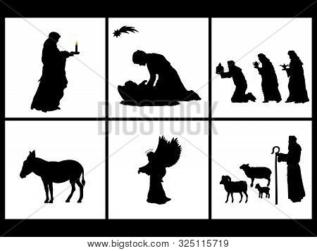 Holiday Set Silhouettes Christmas Christian Nativity. Vector Illustration